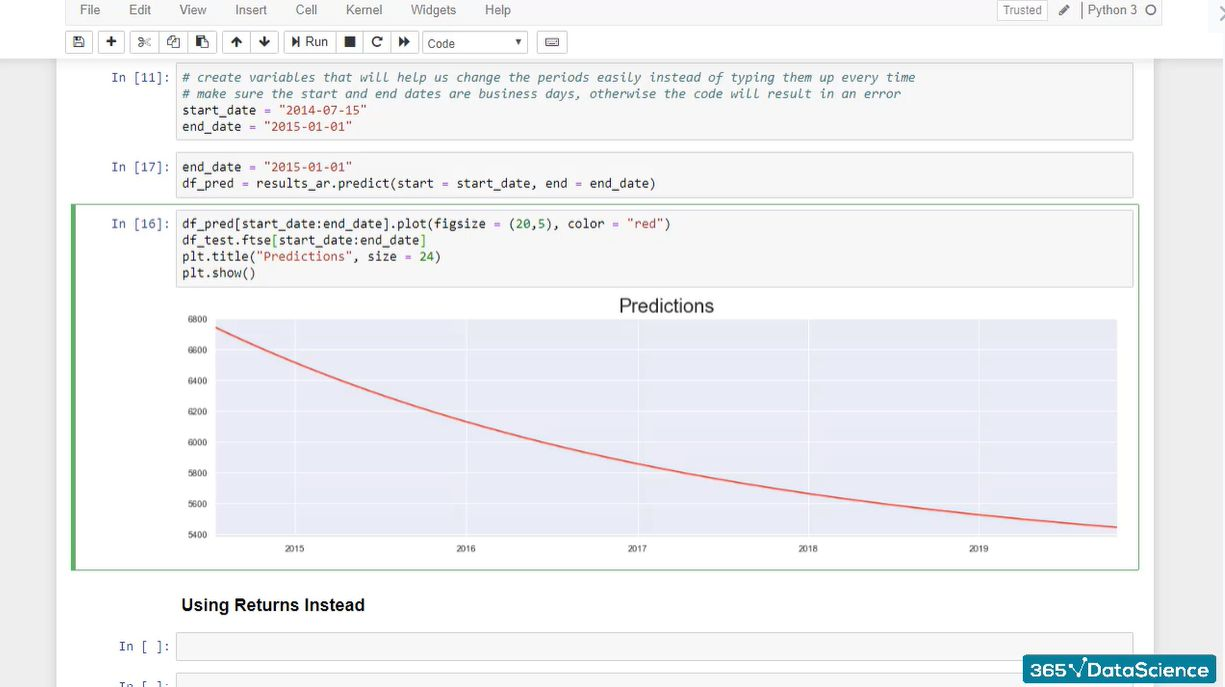 Adding the actual price values to forecasting code.