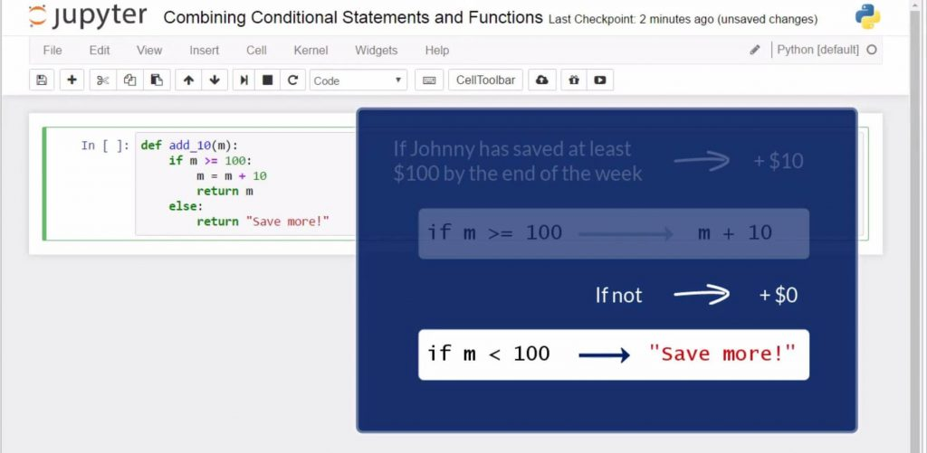 Combining Conditional Statements and Functions in Python: if m < 100, then 'Save more'