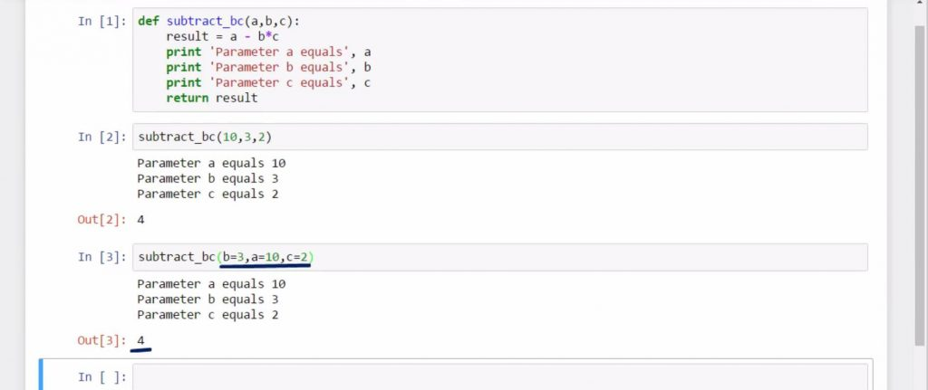 Creating Python Functions Containing a Few Arguments: subtract_bc (b=3, a=10, c=2)