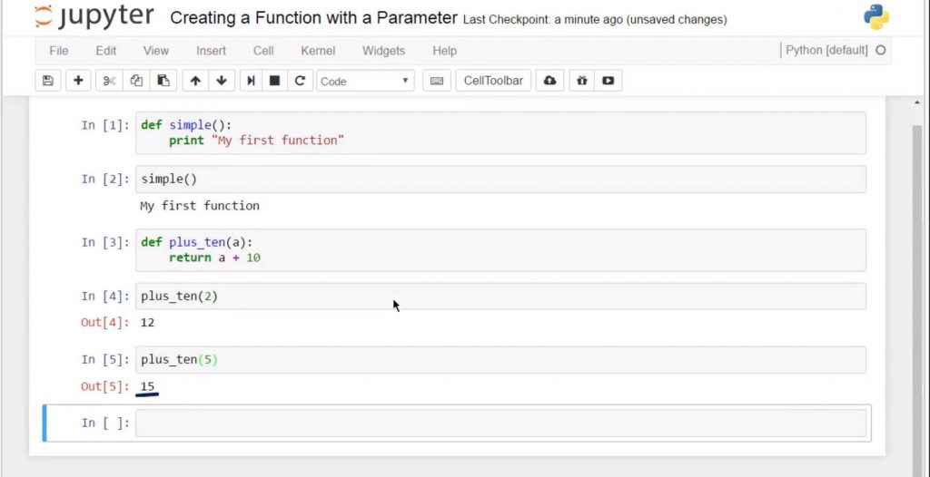 Creating a Python Function with a Parameter: running + 10 with an argument of 5