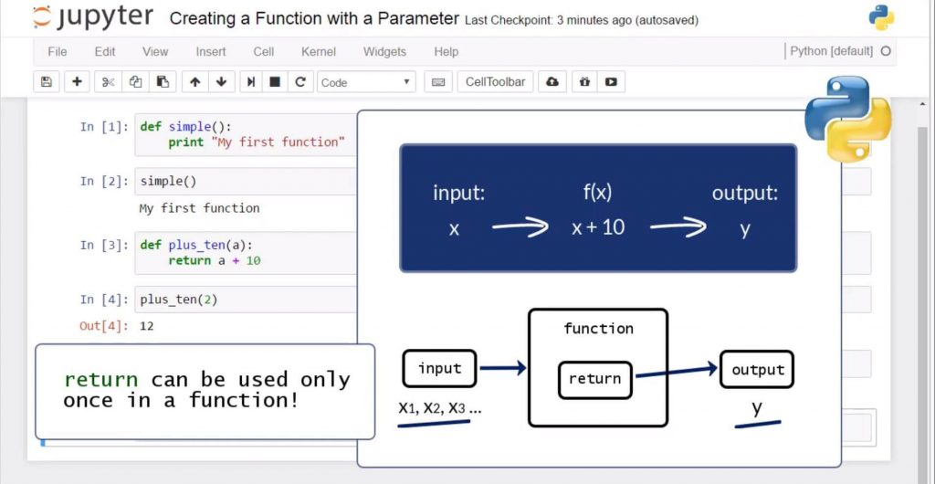 Creating a Python Function with a Parameter: return can be used only once in a function
