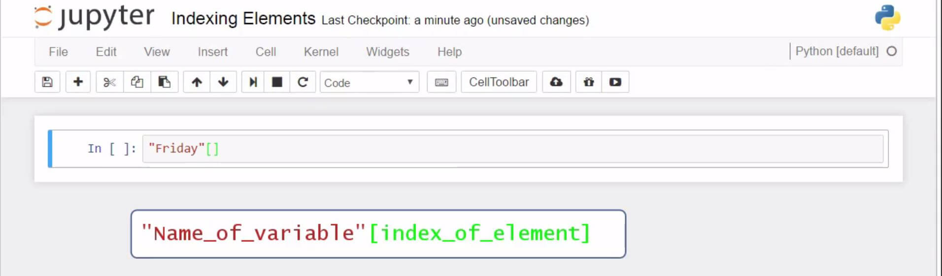 Basic Python Syntax - Indexing Elements in Python