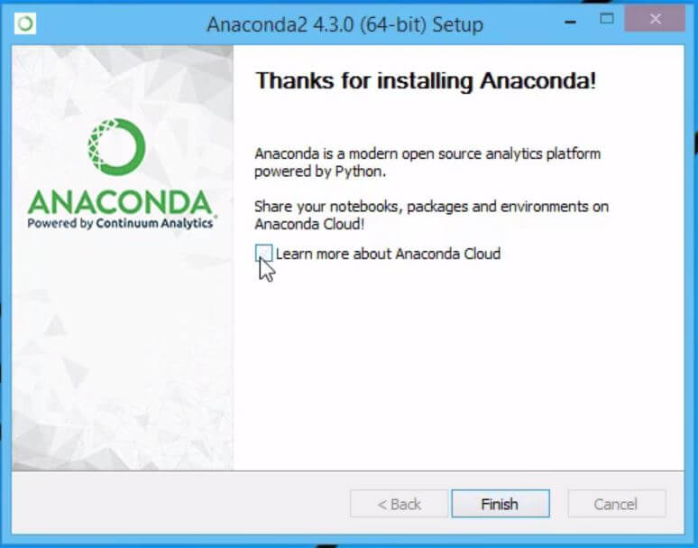 Example of Installing Python and Jupyter in Anaconda: finishin the Anaconda installation