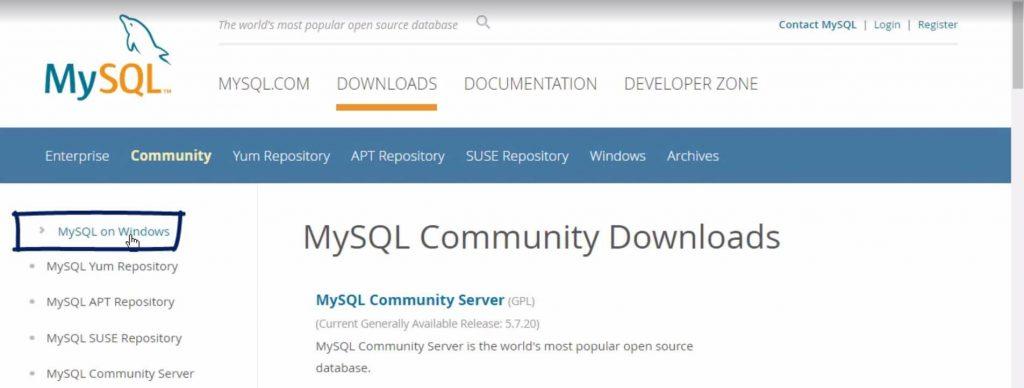 Mysql on windows tab