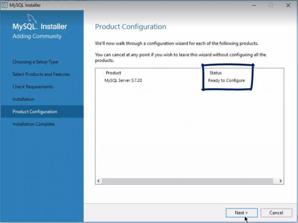Status ready to configure, installing mysql