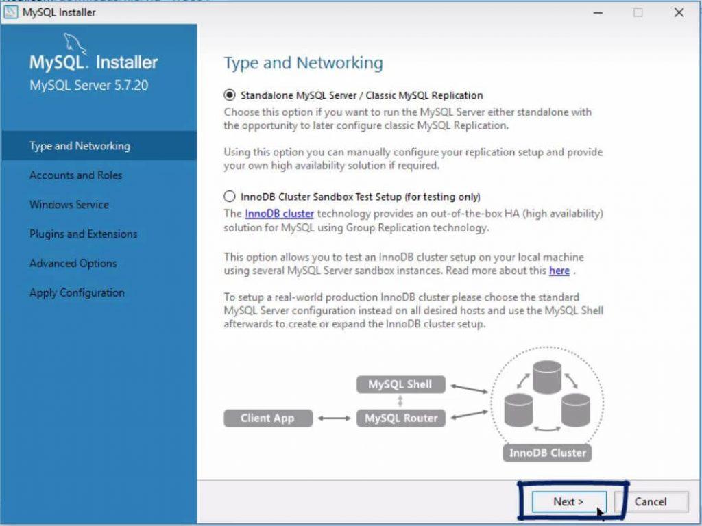 click next, installing mysql