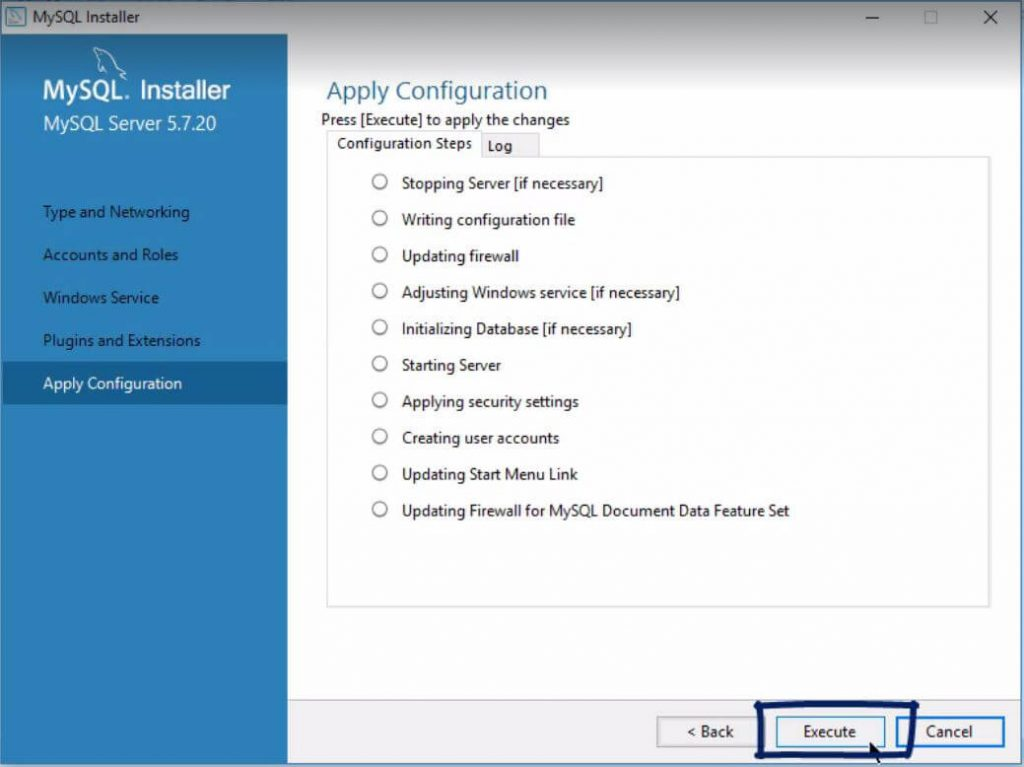 Apply configuration, click execute