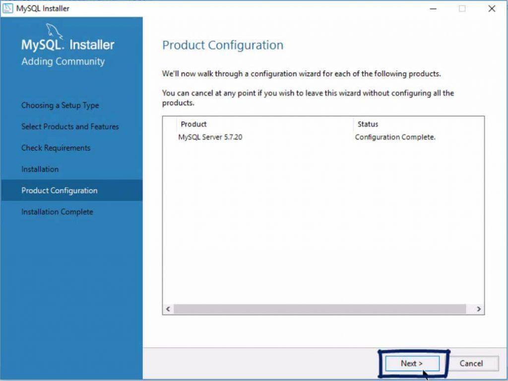 product configuration click next, installing mysql