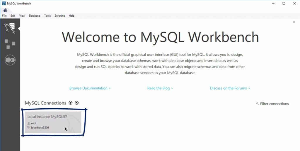 Local instance Mysql57