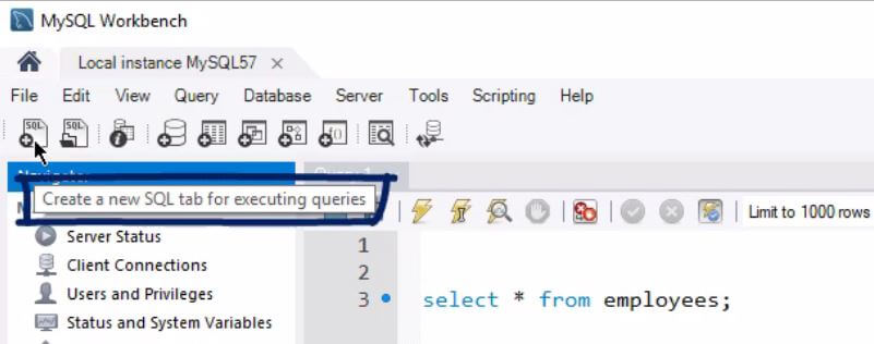 First creates a new sql tab for executing queries