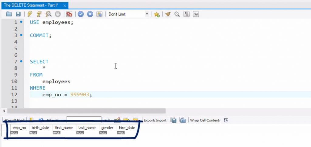 Table-with-null-sql-delete-statement