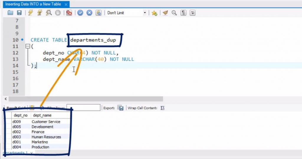 import all the data from departments into departments_dup