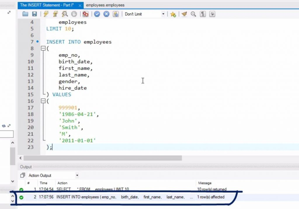 1 row affected, sql insert statement