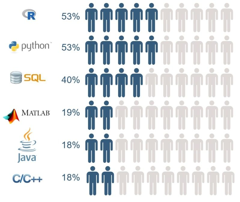 Most popular programming langauges for data scientist