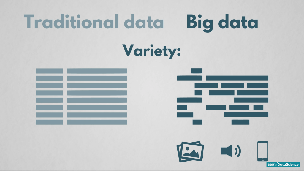 Variety of traditional data and big data