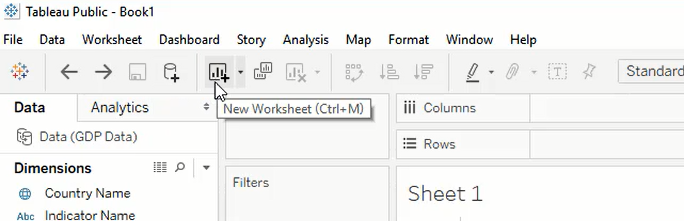 Tableau interface new worksheet