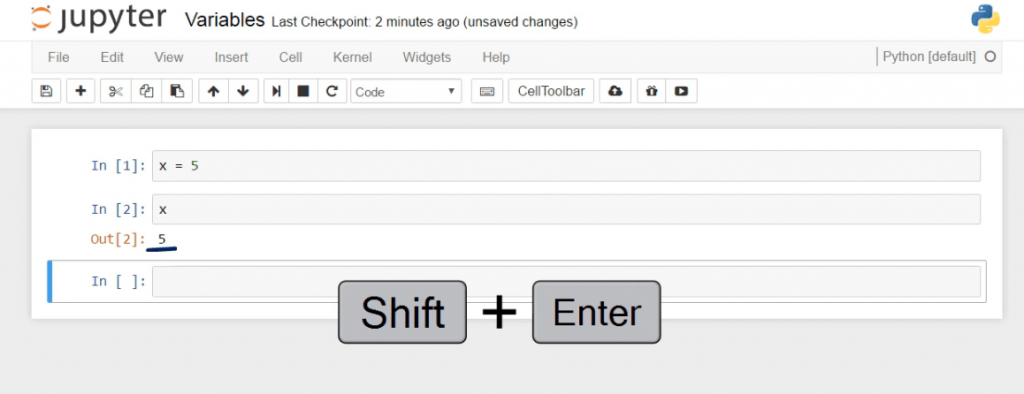 result shift + enter, python variables