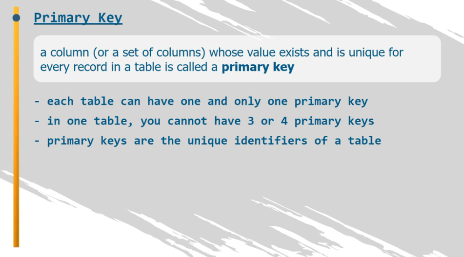 A column whose value exists and is unique for eveery record in a table is called a primary key