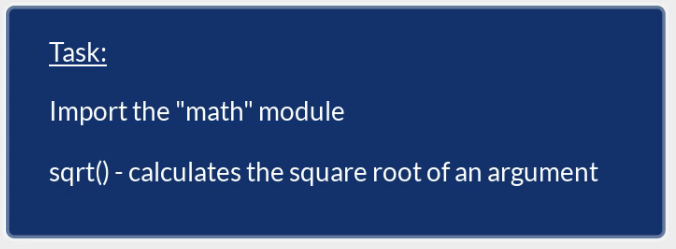 sqrt calculates the square root of an argument