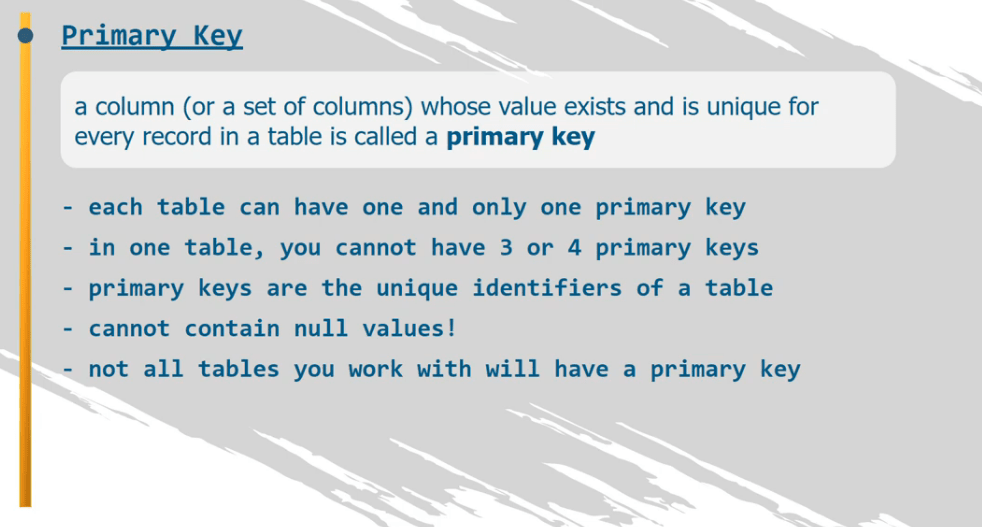 each table can have one and only one primary key. Primary keys are unique. They cannot contain null values. Not all tables have a primary key.