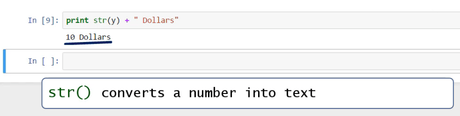 str () convert a number to text