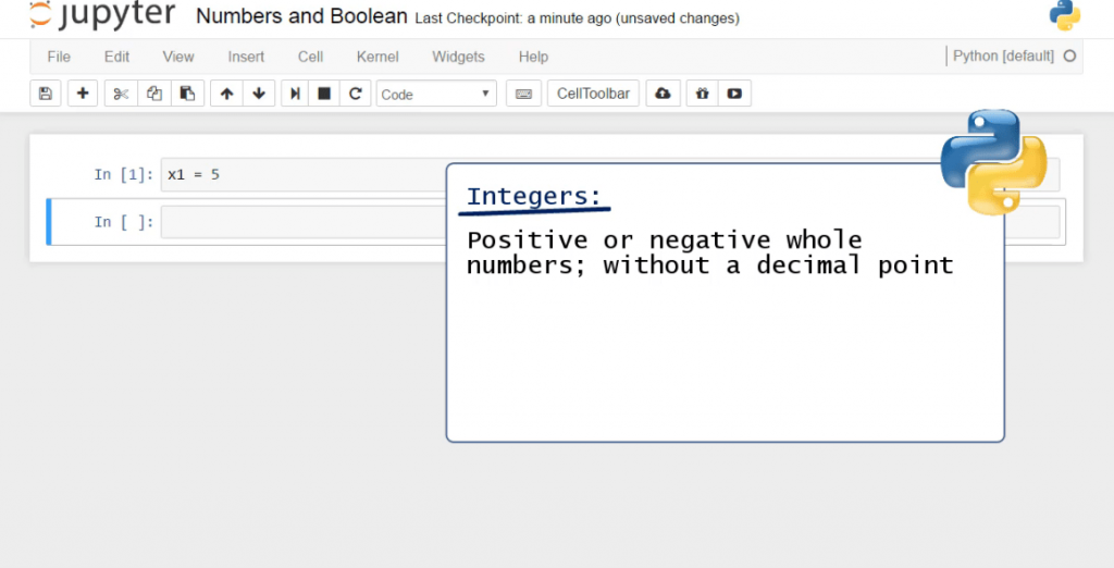 Integers: positive or negative whole numbers without decimal point, data types