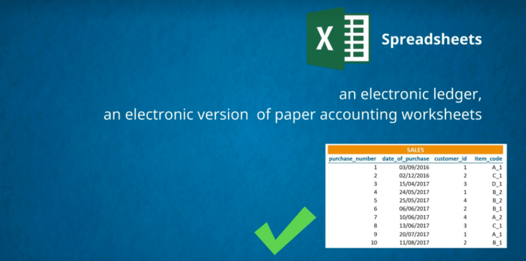 An electronic ledger is an electronic version of paper accounting worksheets databases vs spreadsheets