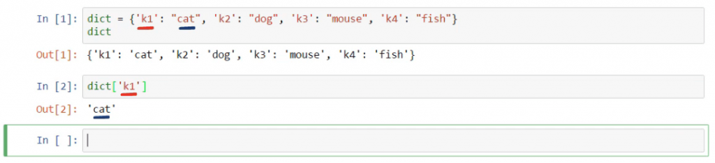 k1 for cat, dictionaries in python