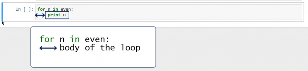 The Body of For Loops in Python: the phrase print n acts as the body of our loop
