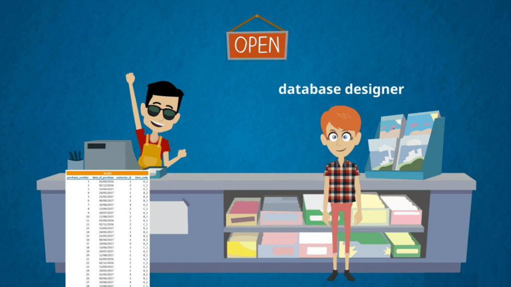 A shopkeeper needs a database designer