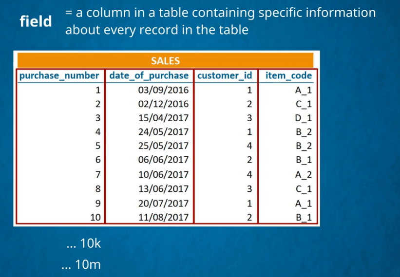 A column in a table is a field