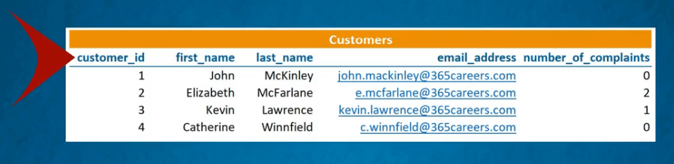 A data table with a customers details