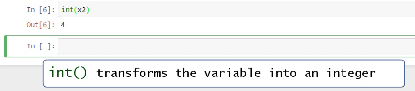 int transforms the variable into an integer, data types