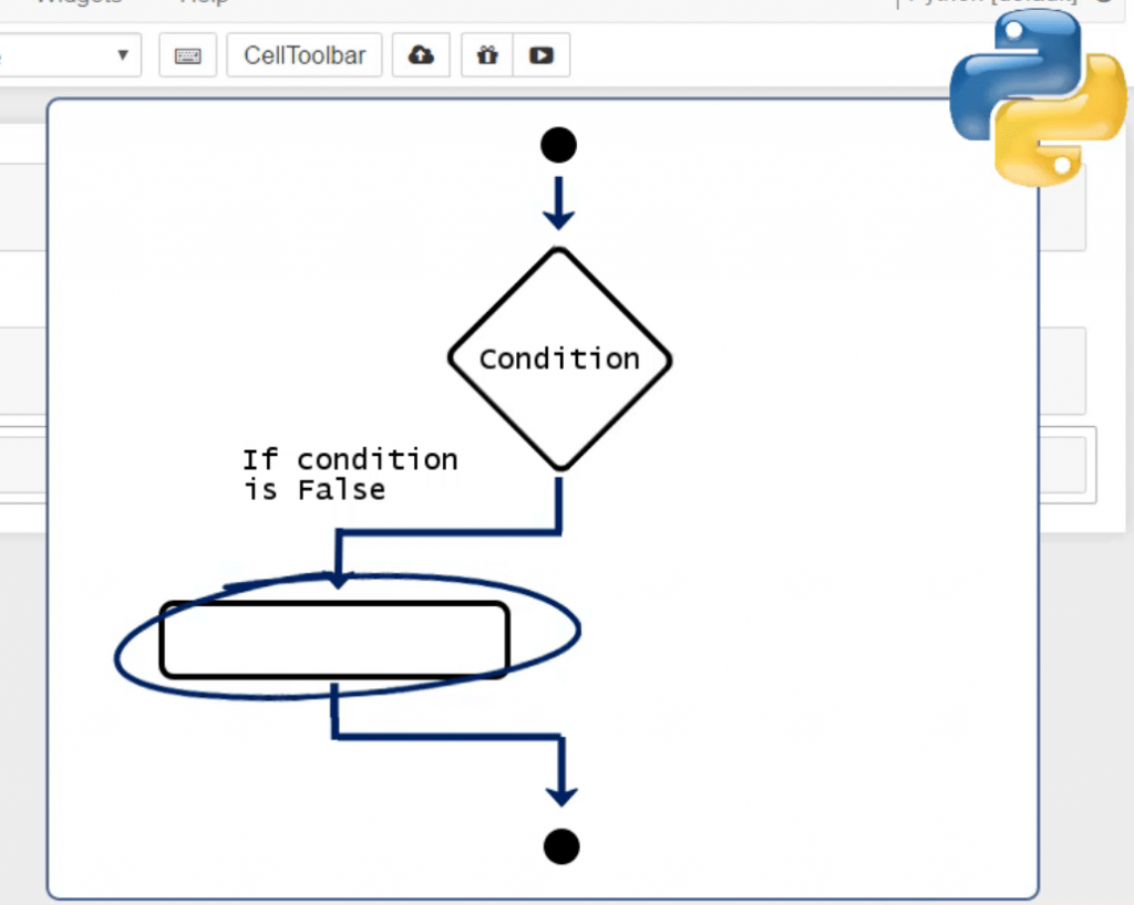 conditional flow chart lead to nothing, conditionals in python