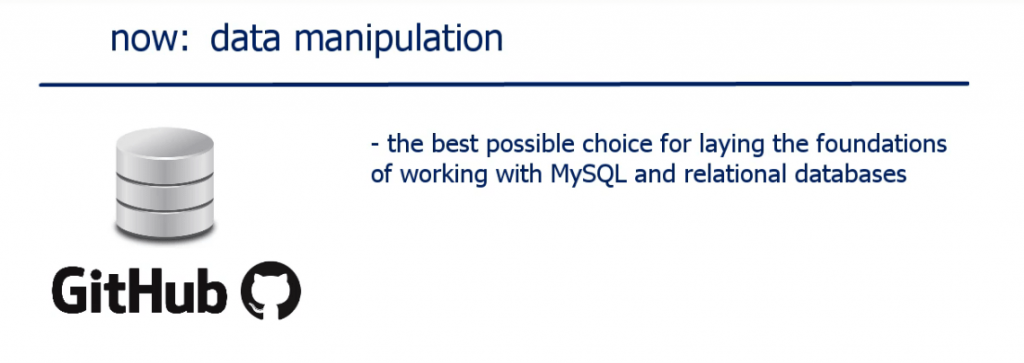 The best possible choice for laying the foundationsf working with MYSQL and relational databases, operators in sql