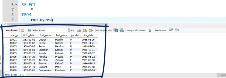 Selecting * shows you all the date from employees, operators in sql