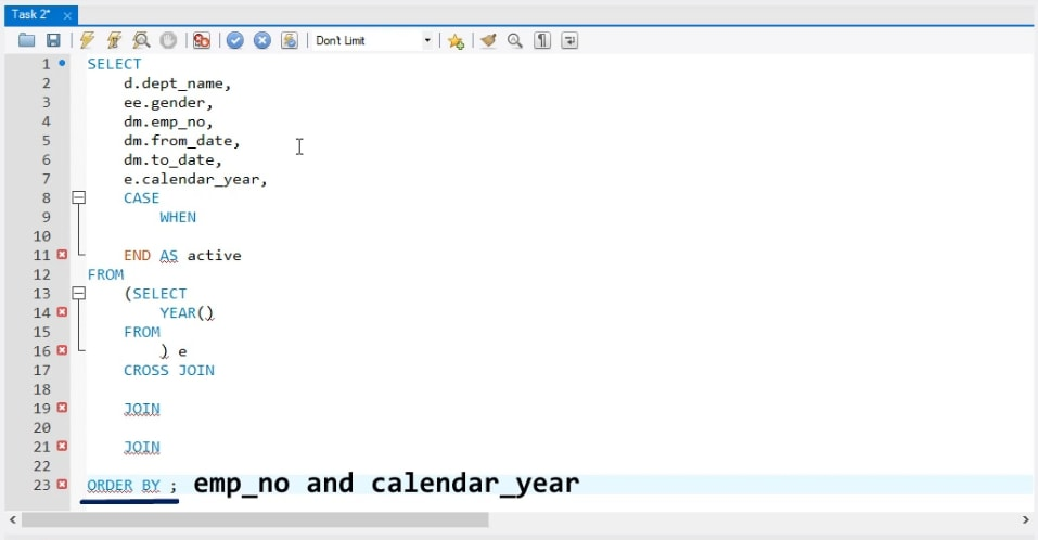 emp_no and calendar year, business task in sql