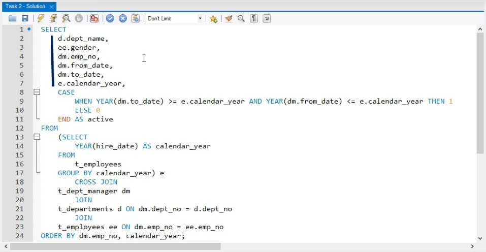 select statement, business task in sql