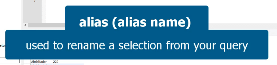 Alias used to rename a selection from you query
