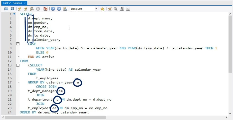 extracted column, business task in sql