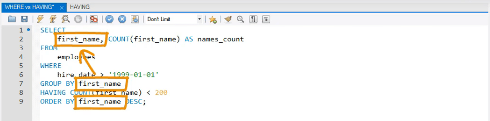 first name is in the query 3 times