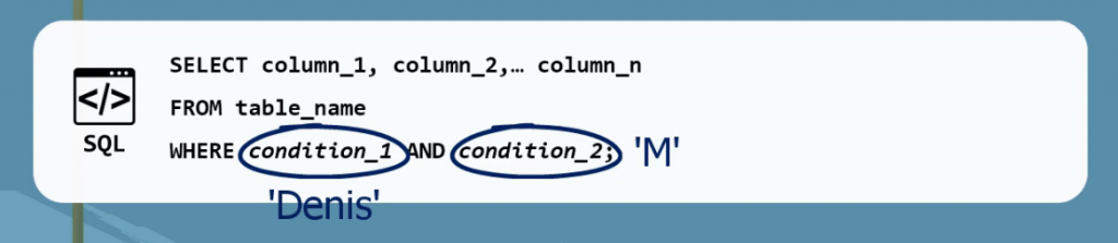 Use 'and' to search for 2 where conditions, operators in sql