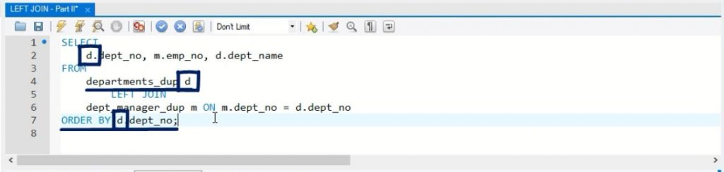 """not from the """"dept_manager_dup"""" table, left join in sql"""
