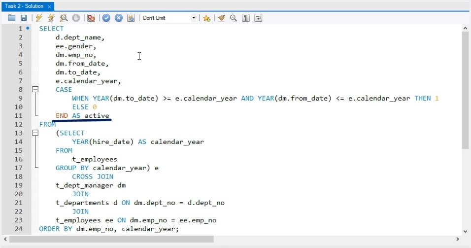 end as active, business task in sql