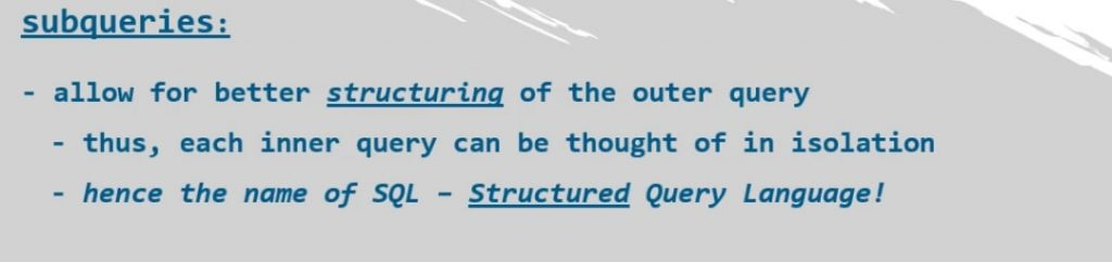 allow for better structuring of the outer query