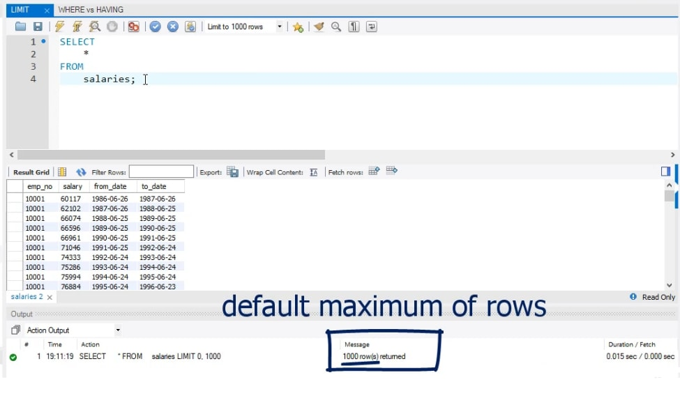default maximum rows, limit statement in sql