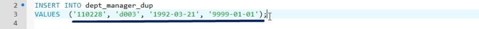 The last value is '9999-01-01' because we want the contract to be with an indefinite end, duplicate records in sql