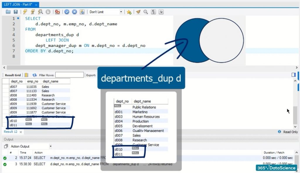 d010 and d011, left join in sql
