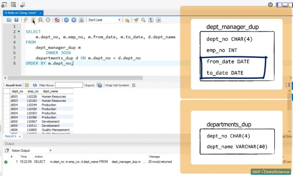 from_date and to_date from dept_manager dup, joins syntax in sql