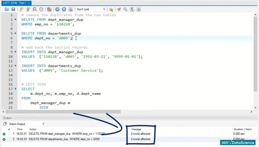 2 rows affected, left join in sql